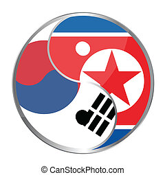 Ying Yan Korea / vector - Ying yan symbol with the North...