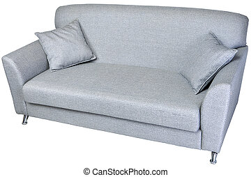 2 seater modern sofa in light grey fabric, on whaite. - Two...