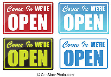 open - Various Come In We\'re Open sign. neon, blue, red.