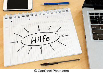 Hilfe - german word for help - handwritten text in a...