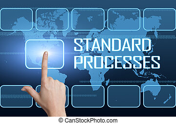 Standard Processes concept with interface and world map on...