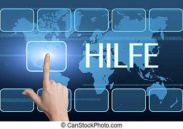 Hilfe - german word for help concept with interface and...