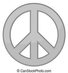 Peace Sign Silver Vector - Gold Peace sign on white...