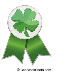 lucky ribbon - Leafs clover ribbon isolated over a white...