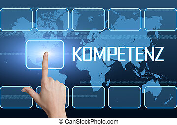 Kompetenz - german word for competence concept with...