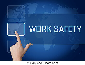 Work Safety concept with interface and world map on blue...