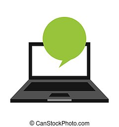 laptop computer with speech bubble isolated icon