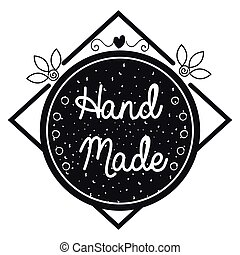 hand made label icon vector illustration design