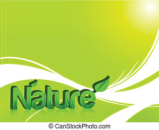 Nature word in 3d with grass inside over a light green...