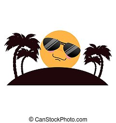 tree palms beach with sun character vector illustration...