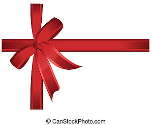 Red gift, ribbon, bow / vector