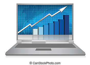 Laptop growth graph / vector