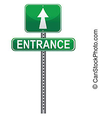 entrance street sign isolated over a white background