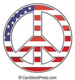 Peace sign / USA / Vector - Peace sign made of the United...