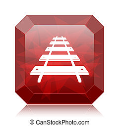 Rail road icon, red website button on white background.