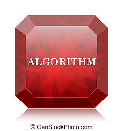 Algorithm icon, red website button on white background.
