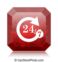 24/7 icon, red website button on white background.