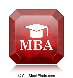 MBA icon, red website button on white background.