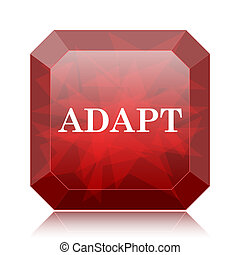 Adapt icon, red website button on white background.