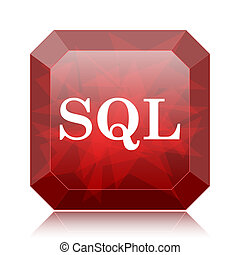 SQL icon, red website button on white background.