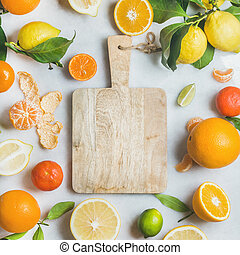 Variety of fresh citrus fruit for making juice, square crop...