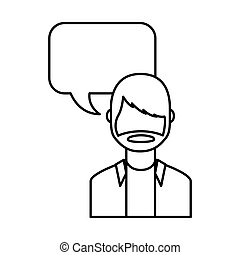 young man with speech bubble avatar character