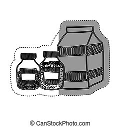 sticker silhouette box milk with bottles salt and pepper...