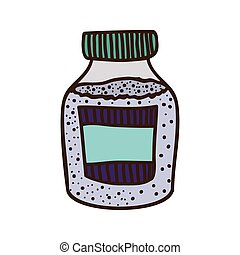 colorful bottle with salt and pepper vector illustration