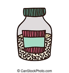 colorful half bottle with salt and pepper vector...