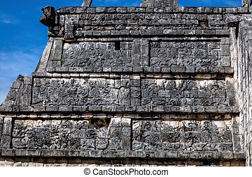 itza,  Chichen, fachada, pirámide,  osario