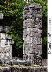 columna, guerreros, mil, tallado, templo