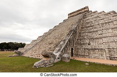 itza,  el, pirámide,  Chichen,  Castillo, lado, sur