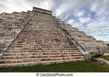 itza,  Chichen, pirámide,  Castillo,  el