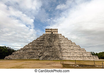 West side of the El Castillo pyramid in Chichen Itza - El...