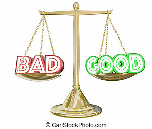 Good Vs Bad Scale Weighing Positive Negative Choices 3d...