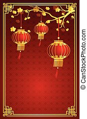 chinese lantern template - cherry blossom template with...