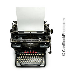Typewriter with paper sheet isolated