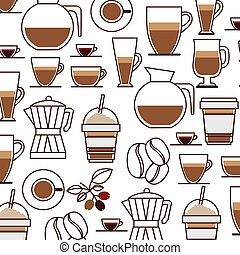 pattern set collection glass jar coffee drink icon