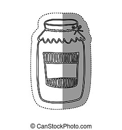sticker silhouette glass jam with label and lid vector...