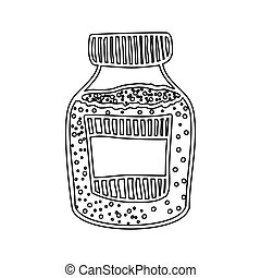 silhouette bottle with salt and pepper vector illustration