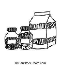 silhouette box milk with bottles salt and pepper vector...