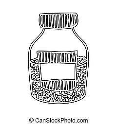 silhouette half bottle with salt and pepper vector...