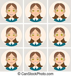 Womens faces with different emotions. Vector