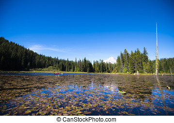 Trillium picturesque lake with water lilies and snowy...
