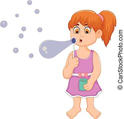 funny little girl cartoon playing bubble