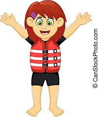 funny girl cartoon wearing life jacket - vector illustration...