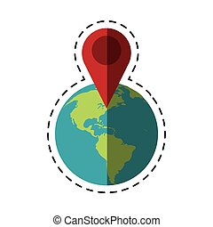 world global pointer map direction cut line vector...