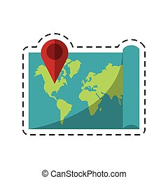 map pointer world destination icon-dotted line vector...
