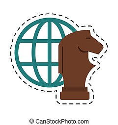 globe strategy business concept-dotted line vector...