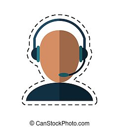avatar headset service call center talk-dotted line vector...